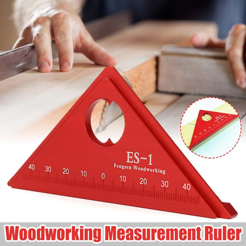 Triangle Ruler Square Red Carpenter Angle Gauges Hand Tools Measuring Metric 45Degree Aluminum Alloy Woodworking Measuring Tool