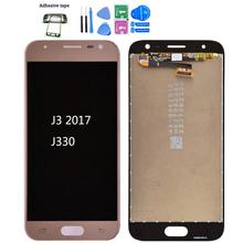 Oryginalny do Samsung Galaxy J3 2017 J330 J330F J330G wyświetlacz LCD i ekran dotykowy Digitizer zgromadzenie J3 Pro 2017 Dual SIM LCD tanie tanio Pojemnościowy ekran 1280x720 3 Nowy For Samsung Galaxy J3 2017 J330 Blue Pink Gold Black Test one by one Bubble bags with foam box