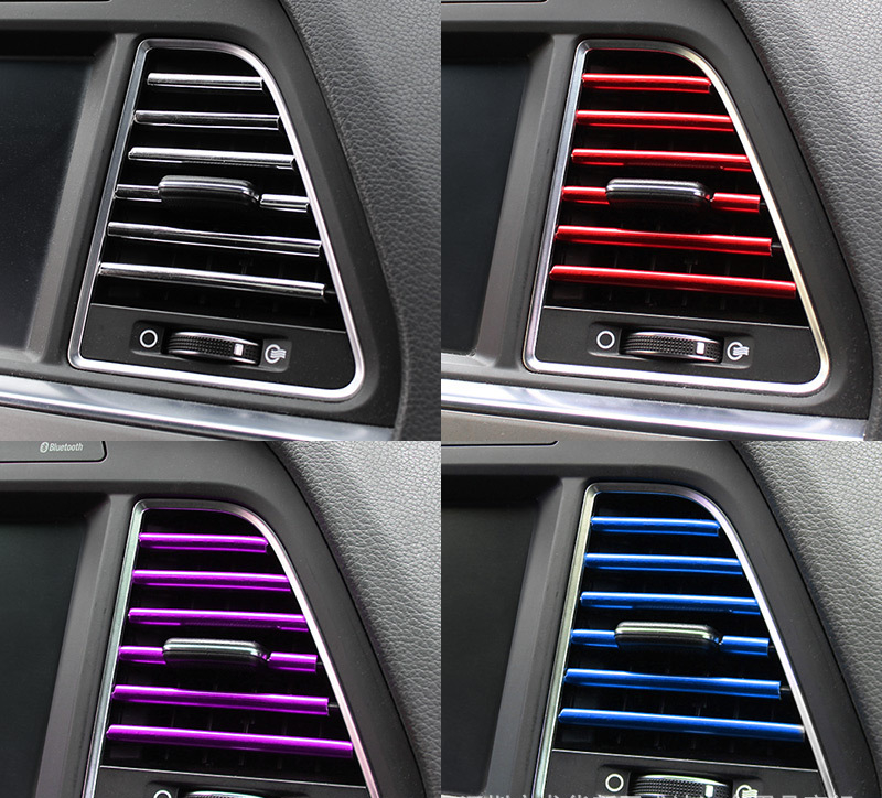 10 Pcs Car Accessories DIY Car Interior Air Conditioner Outlet Vent Grille Chrome Decoration Strip Silvery car styling
