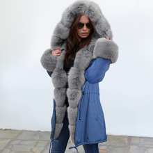 2019 New Winter womens slim body warm lace coat long-sleeved long hooded Warm plush cotton