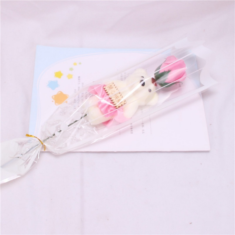 1pc Artificial Rose Floral Scented Bath Small Bear Soap Rose Flower Bouquet Simulation Fake Rose Valentines Day Gift