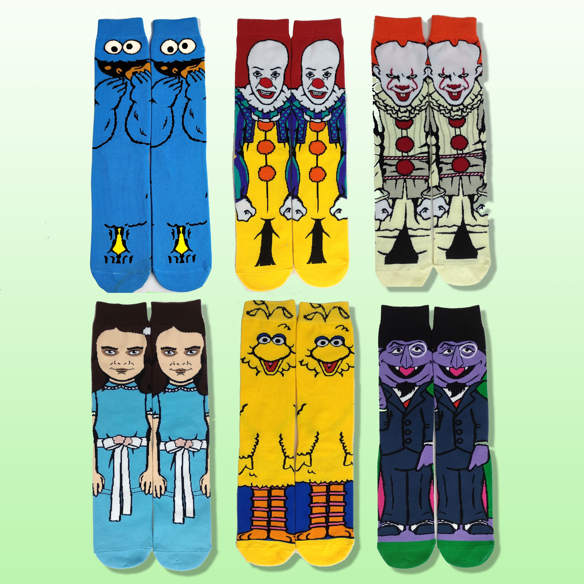 Cartoon Crazy Socks Men Fashion Personalized Tube Socks Casual Comfort Breathable Warm  Yellow Blue Cotton Funny Dress Socks