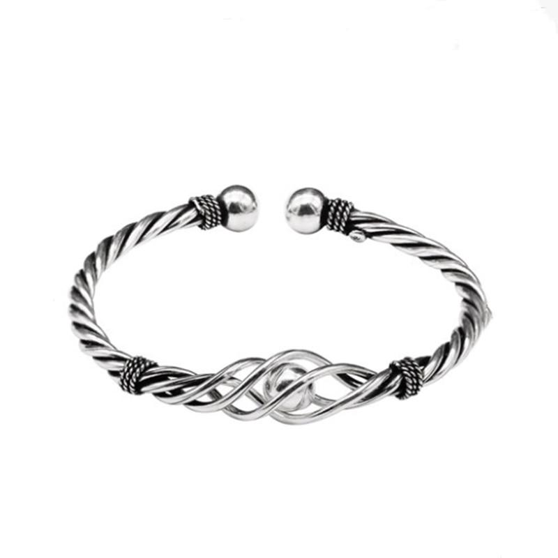 Купить с кэшбэком Fyla Mode Real Pure 100% 925 Sterling Silver Bangles Women Bracelets Twisted Rope Bangle Vintage Wedding Adjustable Bracelet