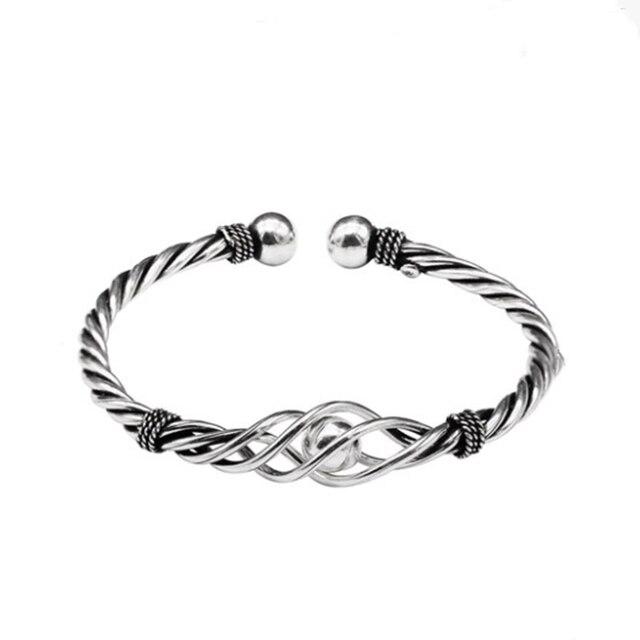 женский винтажный браслет из серебра 100% пробы с плетением фотография