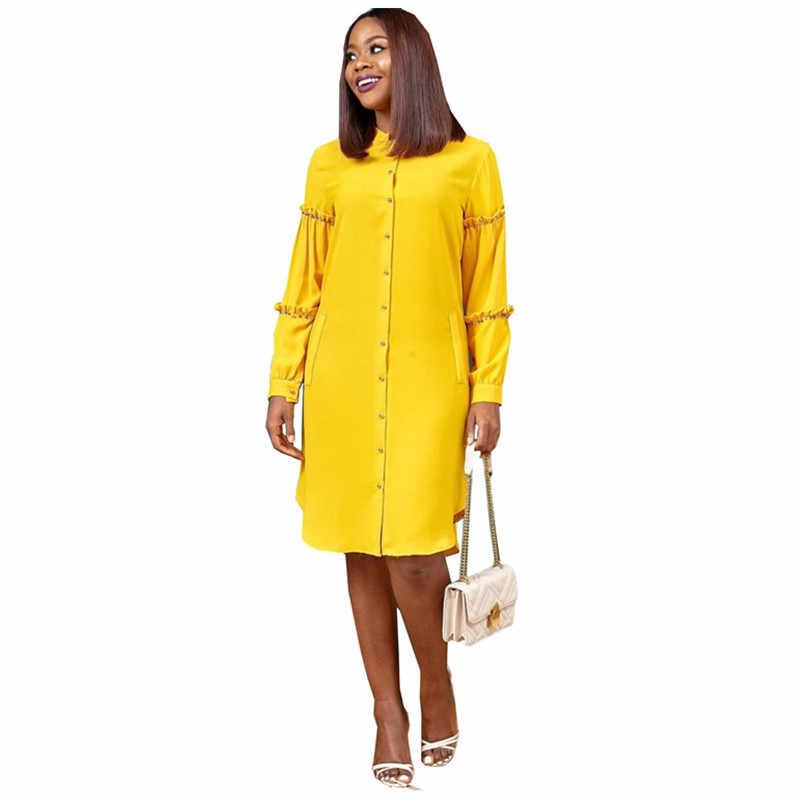 Femmes robe africaine été automne chemise robes Laides Orange jaune décontracté nouveau Style grande taille vêtements africains rêves de fées