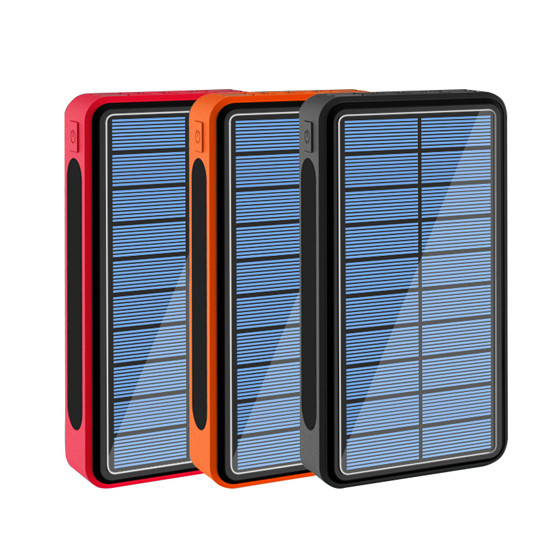 50000mAh Solar Power Bank 4 USB Type C Poverbank Portable Charger Charging with Outdoor Camping Flashlight <font><b>50000</b></font> <font><b>mAh</b></font> Powerbank image