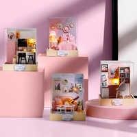 Casa de miniatura DIY Casa de muñecas miniatura modelo 3D Casa de juguete de madera con juguetes LED para niños Regalo de Cumpleaños QT025