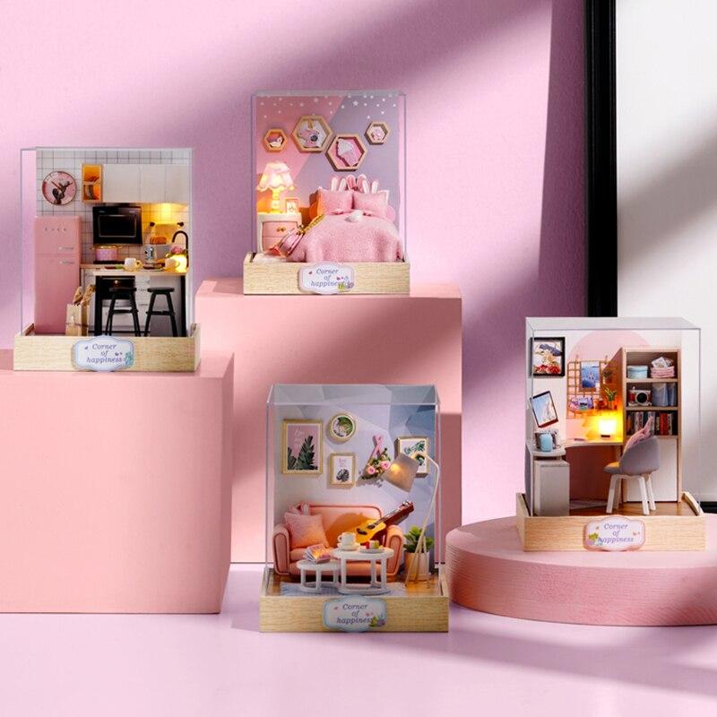 Móveis De Madeira Do Brinquedo DIY Modelo de Casa De Bonecas Em Miniatura Dollhouse Miniatures 3D QT025 Casa Com LED Brinquedos Para Crianças Presente de Aniversário
