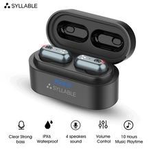 Sylable s101 tws 헤드폰 4 스피커 사운드 qcc3020 칩의 강력한베이스 10 시간 헤드셋 소음 차단 s101 볼륨 컨트롤