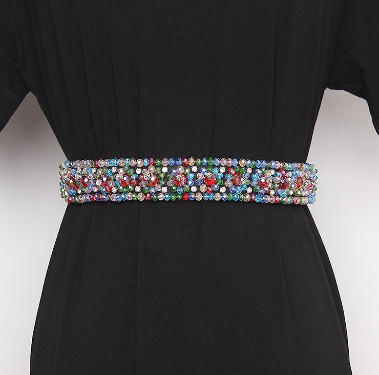 Women's Runway Fashion Blingbling Rhinestone Beaded Cummerbunds Female Dress Corsets Waistband Belts Decoration Wide Belt R2425