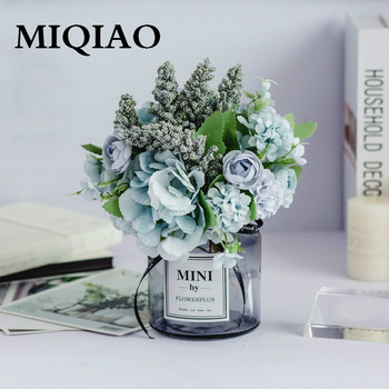 MIQIAO Glass Bottle Fake Rose Flower Gerbera Daisy Artificial Plastic Flower for Wedding Home Accessories Decoration Room Decor