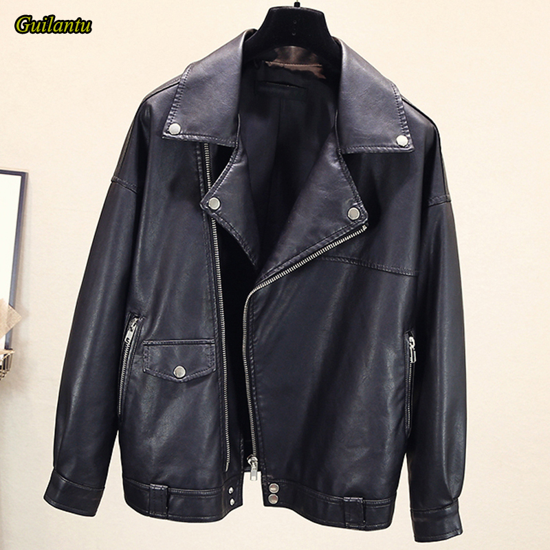 Guilantu Women Faux Pu Leather Motorcycle Biker Coat Turn-down Collar Zipper Plus Size Loose Black Streetwear Jacket Female