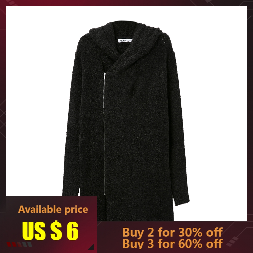 Metersbonwe Knitted Long Hooded Male Cardigan Warm Basic Sweater Men Autumn Smart Casual Solid Color Clothing Fashion Cardigan
