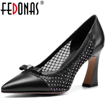FEDONAS Classic Women Rhinestone Prom  Pumps Spring Summer Butterfly Knot Shoes Genuine Leather High Heels New Shoes Woman