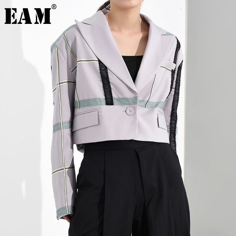 [EAM]  Women Purple Plaid Ribbon Big Size Short Blazer New Lapel Long Sleeve Loose Fit  Jacket Fashion Spring Autumn 2020 1H2691
