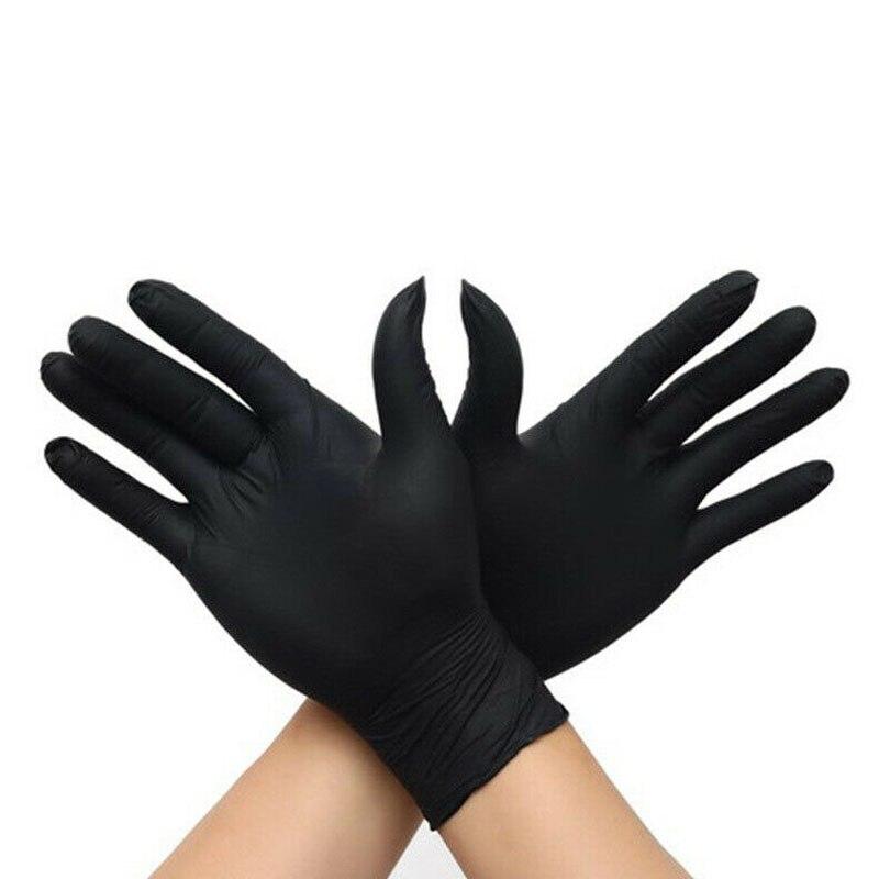 Black Disposable Sterile Gloves Comfortable Rubber M L XL
