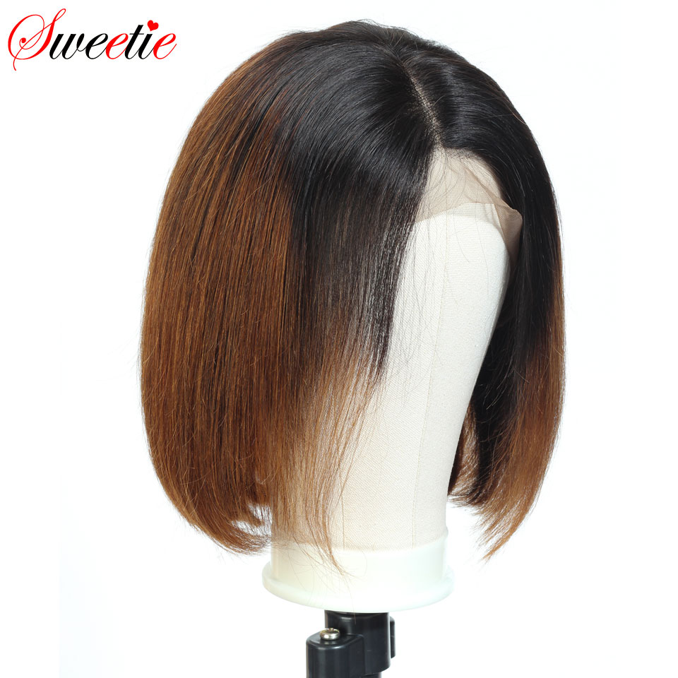 Image 5 - Sweetie  Short Bob Lace Front Wigs 1b/30 Color Ombre Lace Front Human Hair Wigs For Women Remy Peruvian Straight Human Hair Wigs-in Human Hair Lace Wigs from Hair Extensions & Wigs