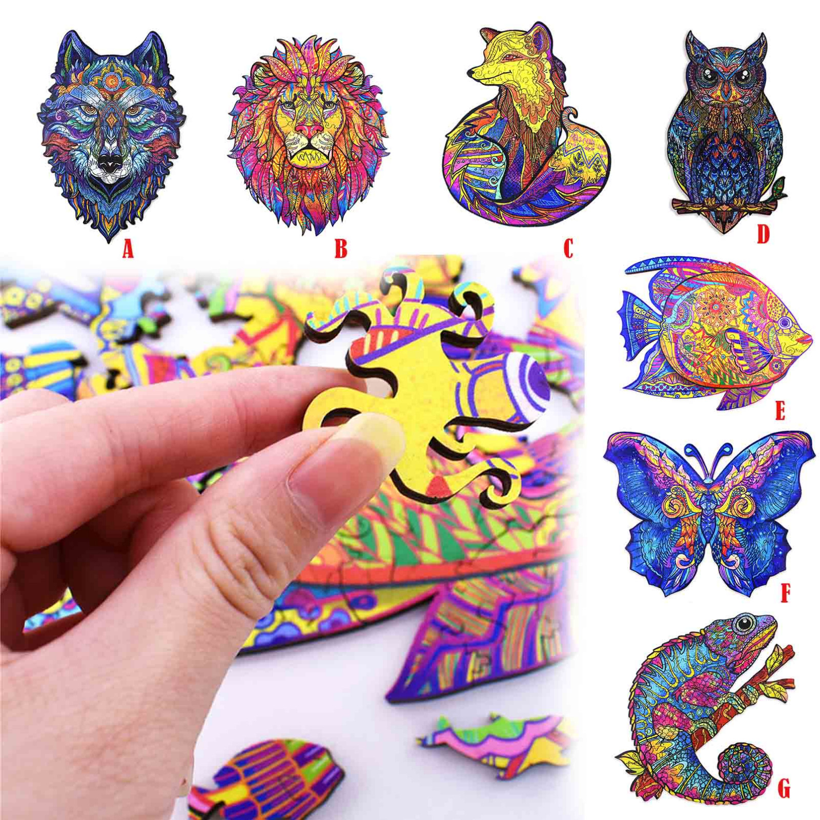Brinquedos para crianças 100 peças de madeira quebra-cabeça forma original peças presente animal para adultos e crianças 5mm brinquedos