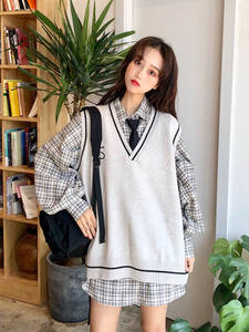 Sweater Vest Pullover Tops Vintage Preppy-Style Women Knitted V-Neck Korean Embroidery