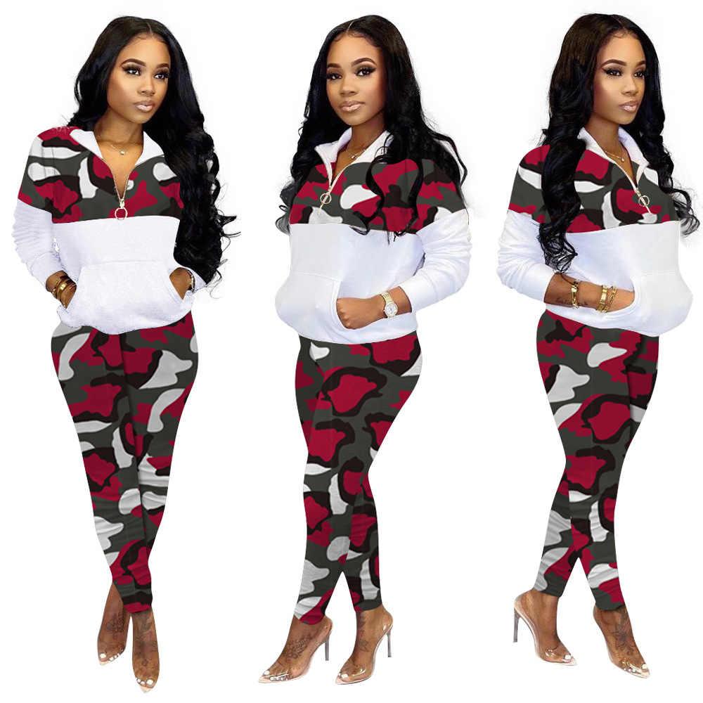 冬の女性ジャージフルスリーブトップパンツスーツ迷彩プリント 2 個セットカジュアルスポーツウェアプラスサイズ衣装