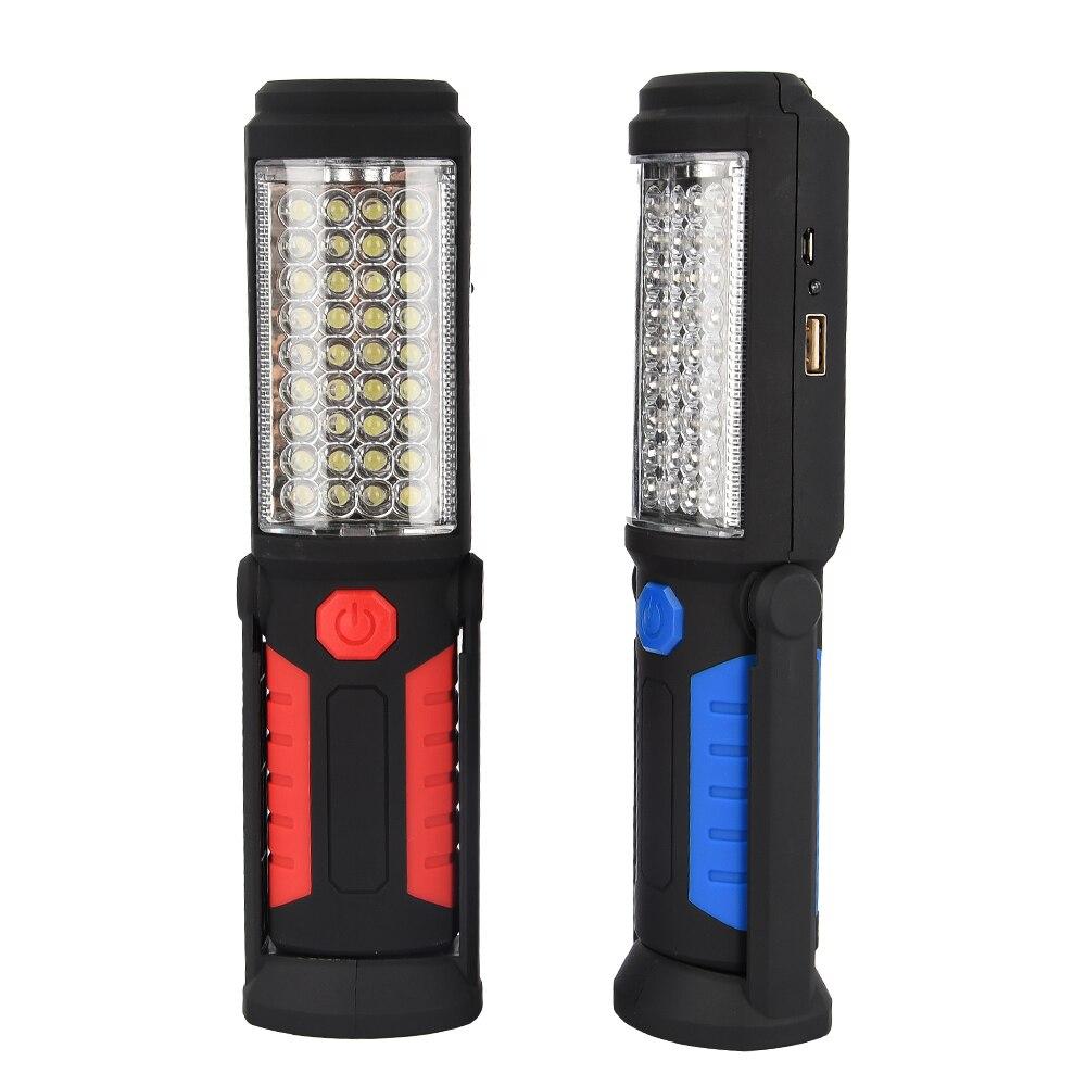Luz de trabajo portátil Led súper brillante al aire libre luz de emergencia recargable magnética Flexible lámpara de inspección para la caza Reflector LED de carga USB Luz de trabajo reflector recargable 2*18650 o 4 * AA batería al aire libre reflector para Camping emergencia