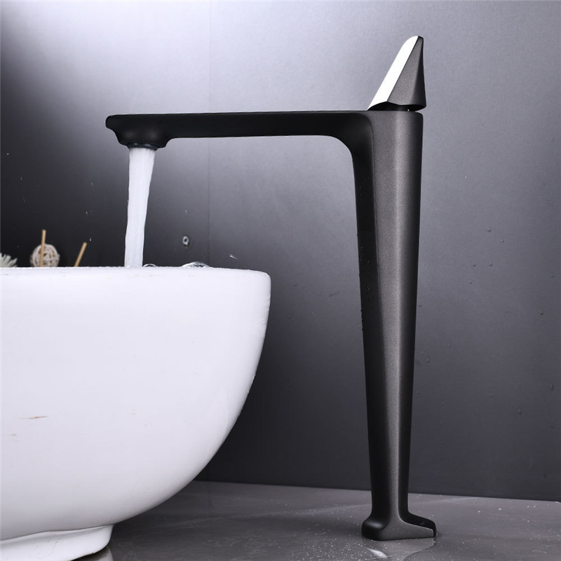 Basin Faucets Black Brass Faucet Hot and Cold Bathroom Sink Faucet Deck Mounted Toilet Nickel/Grey Color Mixer Water Tap