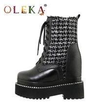 Женские кожаные ботинки до середины икры oleka черные зимние