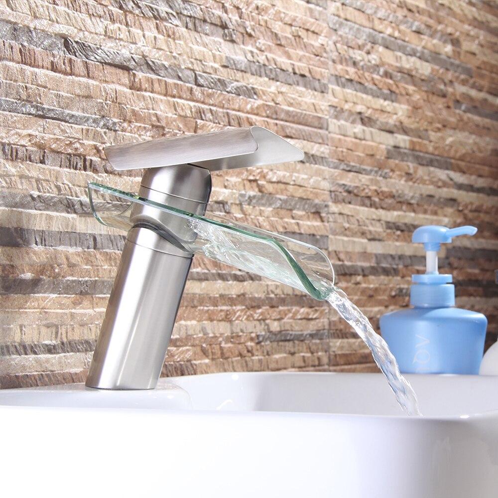 Смеситель для ванной комнаты, хромированный латунный кран для раковины, кран для раковины, никелевый матовый смеситель, смеситель для раков...