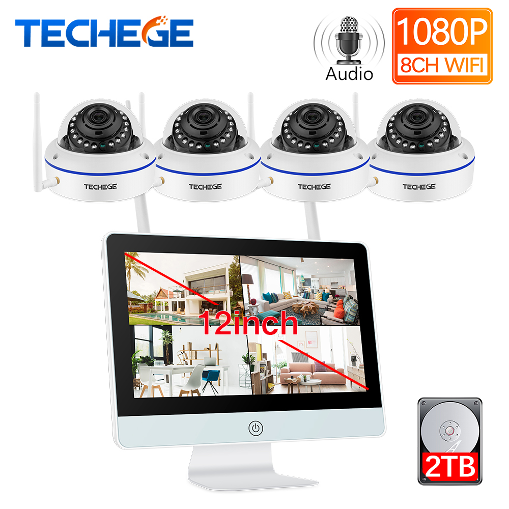 Techege Plug And Play 8CH Wireless NVR Kit 12inch LCD NVR 1080P HD Vandalproof Security IP Camera Night Vision WIFI CCTV System