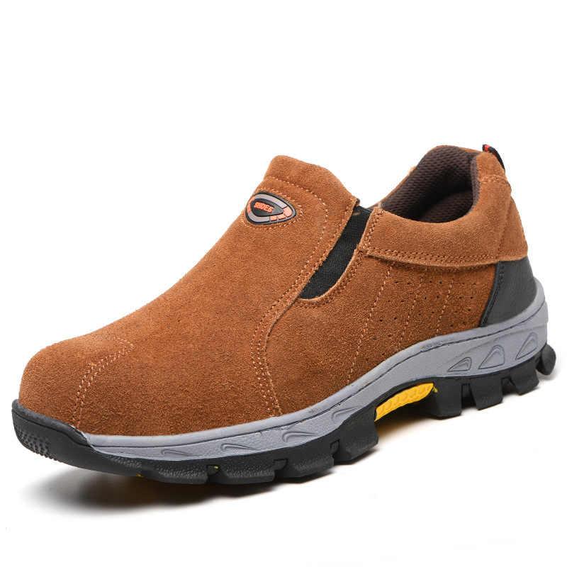 Botas de seguridad de cuero suave con plataforma para trabajadores, zapatos de seguridad de trabajo, con punta de acero de gran tamaño, informales para hombre proteger