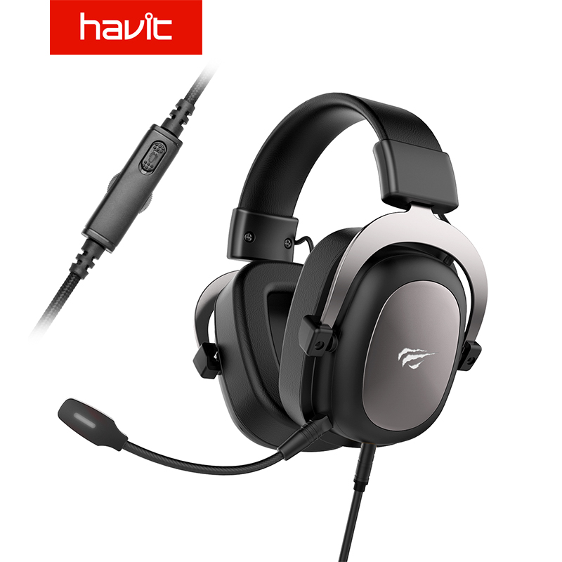 Havit wired headset gamer pc 3.5mm ps4 fones de ouvido surround sound & hd microfone jogos overear