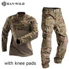 HAN WILD-uniforme militar de combate táctico, camisa del ejército estadounidense, Tops tácticos, Airsoft, Camuflaje Multicam, pantalones de caza, rodilleras
