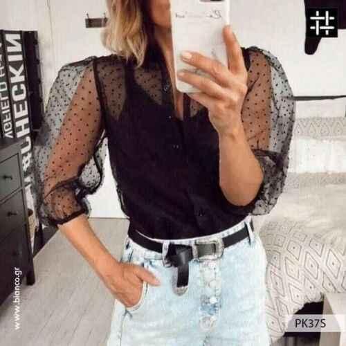 ホット女性ブラウスロングスリーブトップシャツブラウスファッション真珠ボタン透明白シャツ女性 blusas