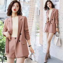 Office Ladies Pink  Blazer Suit Single Breasted Pockets Female Blazer Pants Set Streetwear Elegant Women Blazer Set