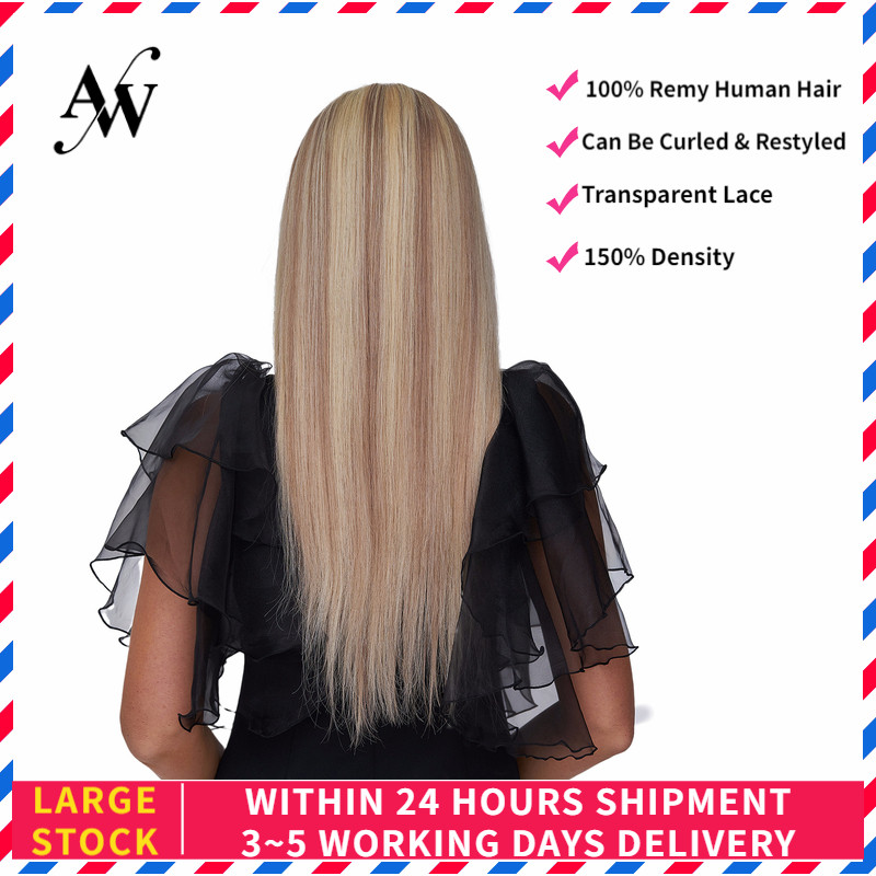 AW 20'' HD Transparent Half Lace Wigs Straight Pre Plucked Hairline Remy Human Hair Wig For Women 150% Density Light Blonde