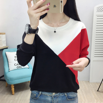 Contrast Color Women Pullover Sweatshirt Batwing Long Sleeve Casual Sudadera Mujer Winter Woman Clothes Plus Size Sweat Femme contrast sleeve tape detail sweatshirt dress