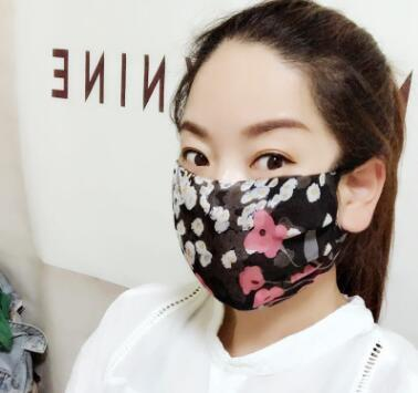 Women's spring summer flower print thin natural silk mask female sunscreen driving dust protection mouth-muffle R1060 3