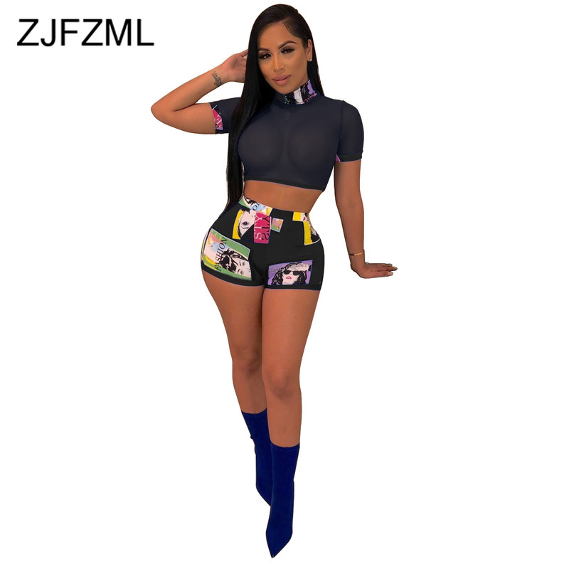 Perspective Sexy Summer Outfits For Women Round Neck Short Sleeve Croped Mesh Tops And Print Biker Shorts Vintage Matching Set