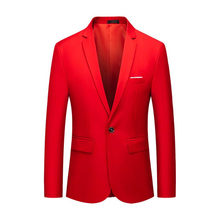2019 Spring Large Size Men's Wedding Casual Flow of Pure Color Blazers Men High Quality Gentleman Men Slim Casual Red Suit(China)