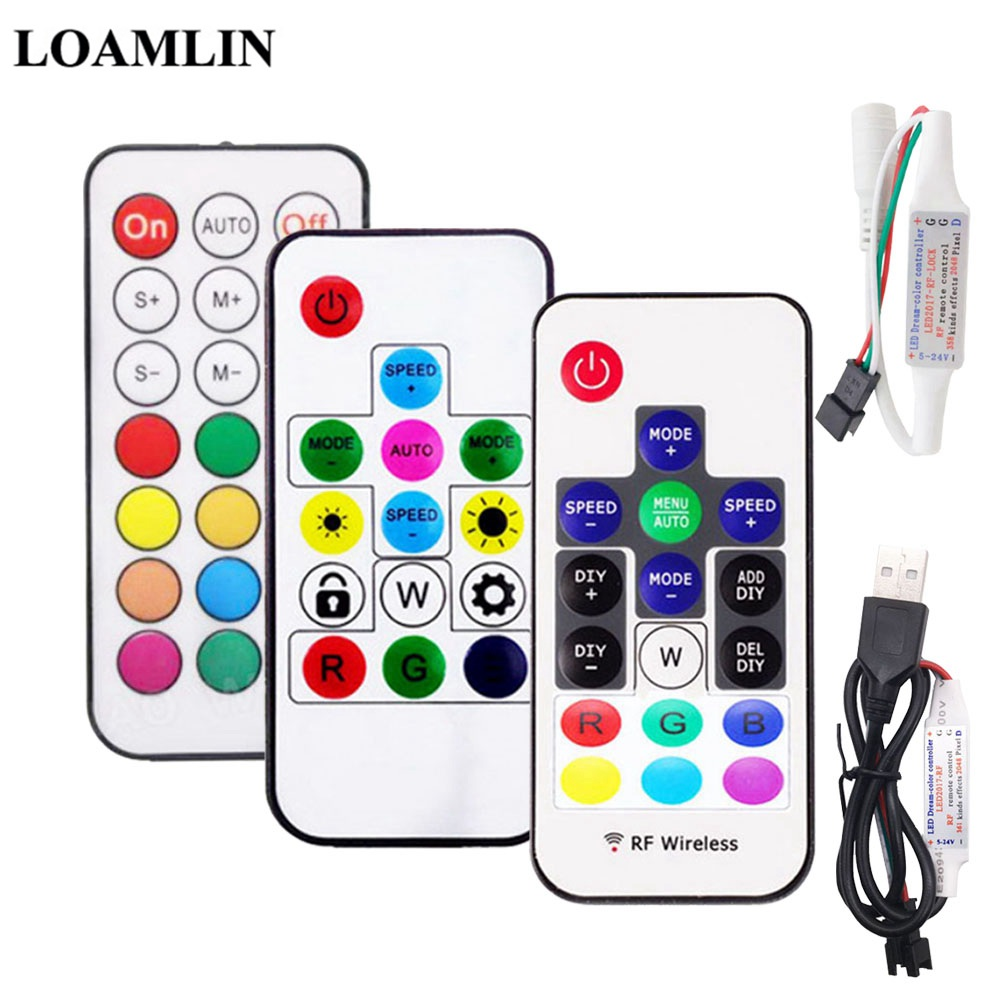 DC5-24V USB/DC MINI 3Keys RF14/17/21Keys LED Pixel Strip Light Controller For WS2811 WS2812B SK6812 1903 With Remote Controller