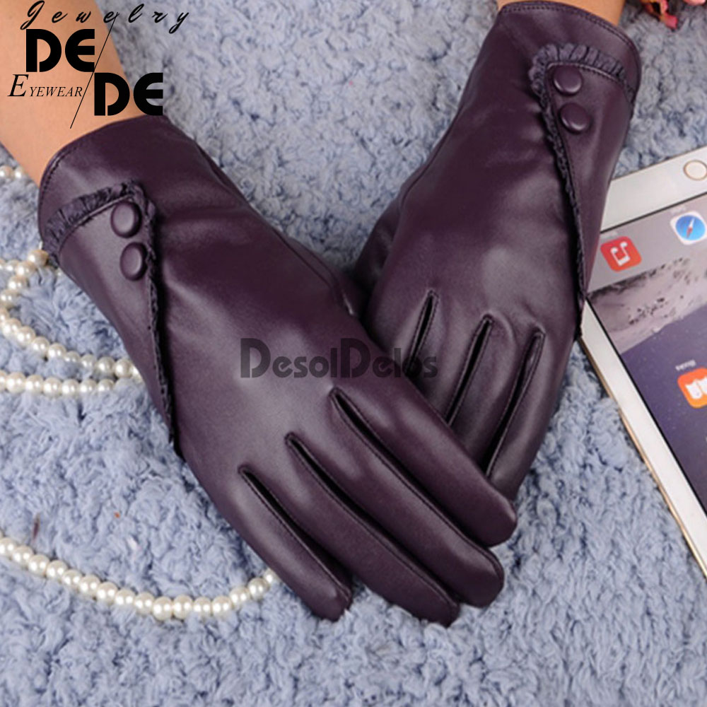 Luxurious Fashion Hot Solid Women Girl Leather Winter Super Warm Leather Women Gloves Cashmere 2019 Fashion Women Winter Gloves