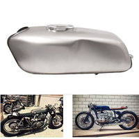 Motorcycle Vintage 9L Fuel Gas Tank with Thick Iron Cap Switch For Honda CG125 CG125S CG250 Cafe Racer New Plaint Silver