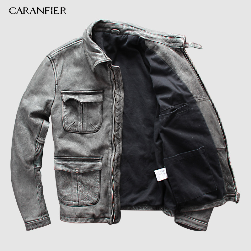 CARANFIER Leather Jacket Brand Old Retro Mens 100% Cowhide Genuine Leather Jacket Motorcycle Leather Jacket  DHL Free Shipping