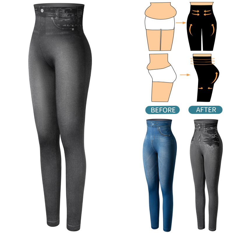 Faux Denim Leggings High Waist Fashion Slim Women Seamless Leggings Sexy Long Jeans Printing Fitness Legging Casual Pencil Pants
