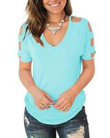 M28048 Women's Short Sleeve Cut Out Cold Shoulder Tops Deep V Neck T Shirts