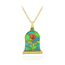 Movie Beauty and the Beast Necklace Rose Colored Enamel Flower in charmCover Pendant for women Fairy fashion Jewelry Gift