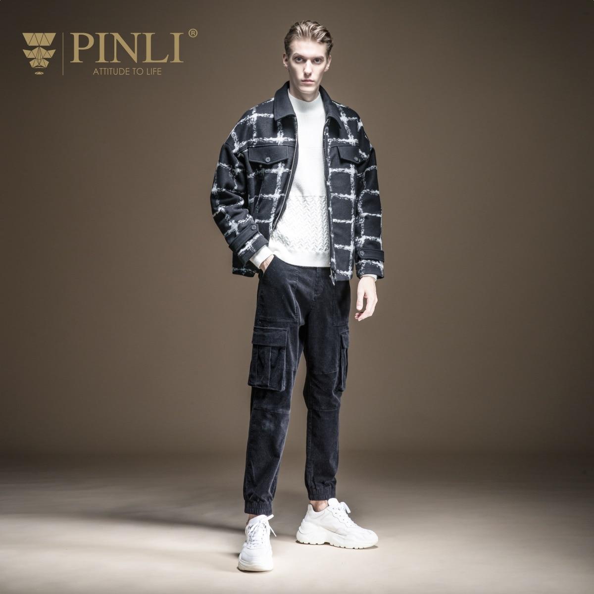Palto completo Real hecho masculino breve párrafo 2019 otoño la nueva ropa de hombre abrigo de tela celosía ovejas de felpa solapas B193502351 - 2