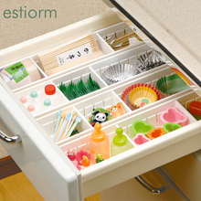 Drawer Organizers - Space Adjustable Drawer Divider - Plastic Drawer Storage Box For Kitchen,Bathroom,Bedroom - With Clapboard