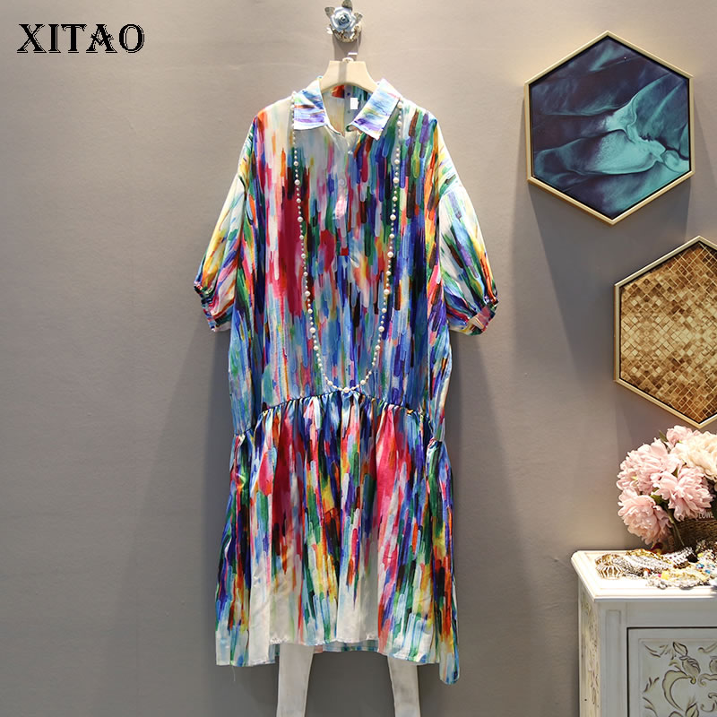 XITAO Colorful Print Pleated Plus Size Dress Women Turn Down Collar Short Sleeve Vintage Dress Fashion Summer New 2019 WBB4072(China)