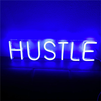 HUSTLE LED Neon Sign Light Wall Art Decorative Hanging Signs for Bedroom Room Party Home Decor Neon Night Light USB Powered недорого